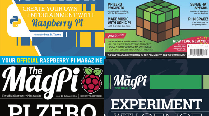 MagPi 41 – 42 i MagPi Essentials book (Sense Hat i Make Games with Python)