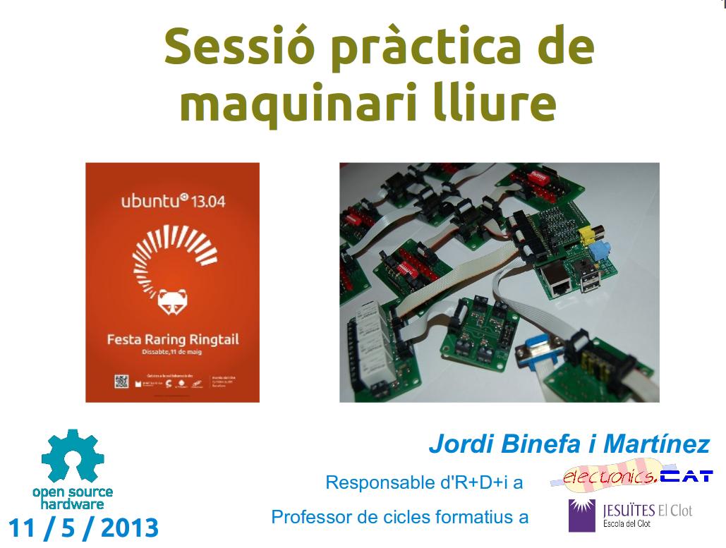 """Documents de la """"Sessió pràctica de programari lliure"""" a festa de Ubuntu 13.04"""