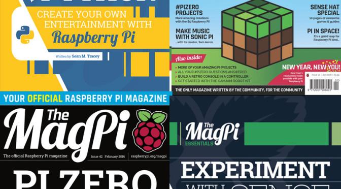 MagPi 41 – 42 i MagPi Essentials book (Sense Hat i Make Games with Python)